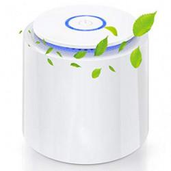 Purificador de Aire Portátil, Mini Filtro de aire USB con Filtro HEPA/Carbón Activado/Función Aromaterapia/2 Modos/Luz Noctur