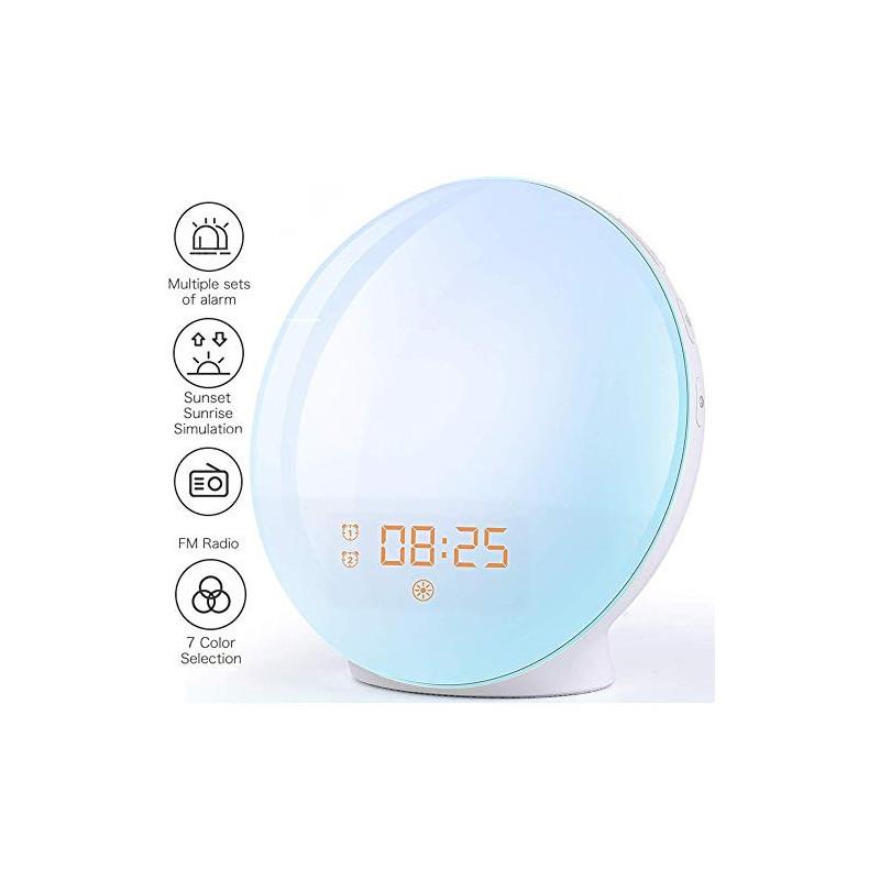 Wake Up Light Despertador Luz - 2019 LED Despertador Amanecer Simulación de Amanecer y Anochecer, 2 Alarmas, 7 Luces de Color