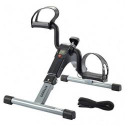 FITODO Pedales Estaticos Ejercicio de Mini Bicicleta con Monitor LCD para Pierna y el Brazo de Rehabilitación Gris