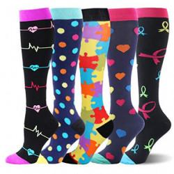 Calcetines de compresión Medias de compresión para hombres y mujeres aptos para correr, enfermeras, férulas de espinilla, via