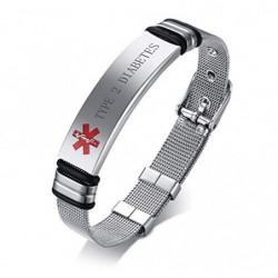 VNOX Nombre de Acero Inoxidable ID de Alerta Médica de Ice Pulsera Ajustable Pulsera de Emergencia Sos para Hombres Mujeres,T