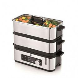 WMF Kitchenminis - Vaporera 900 W, 2 Zonas de Cocción y Función de Mantenimiento de la Calor, Acabados de Acero Inoxidable de