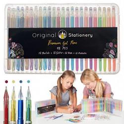 Original Stationery - Juego de bolígrafos de Gel para Adultos–Punta Fina sin derrames–Metálico, Purpurina, Fluorescente,