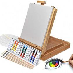 Artina Florenz set de pintura de 28 piezas caballete maletín de mesa para profis y aficionados 18 colores acrílicos, lienzo,