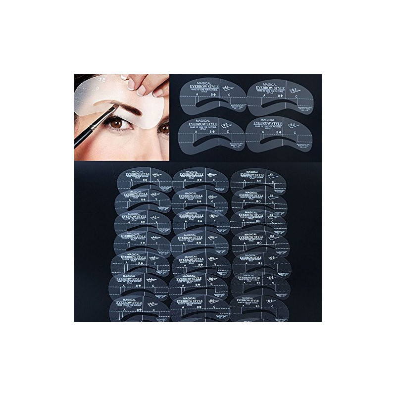 Juego de 24 plantillas para cejas, plantillas para modelar cejas, maquillaje y belleza, 24 unidades