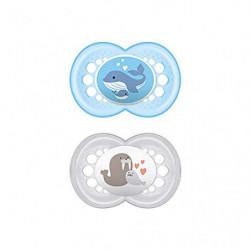 MAM Chupete Original S215 - Chupete con Tetina de Silicona SkinSoftTM ultrasuave, para Bebés de 16+ meses, Azul  2 unidades ,