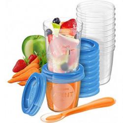 Philips Avent - Juego de recipientes para comida de bebé  20 recipientes + 1 cuchara + libro recetas