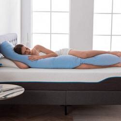 NOFFA Almohada de cuerpo entero, almohada larga de embarazo con espuma viscoelástica triturada, soporte para espalda, caderas