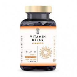 Vitamina D3 K2 DOSIS ALTA - Vitamina D3 5000iu + Vitamina K2 MK7 200 μg + Silicio - Vitaminas Hombre Mujer. Contribuye al Sis
