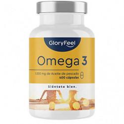 Omega 3 Aceite de Pescado - 400 Cápsulas de Alta Potencia  Suministro para 14 meses  - 1000mg por Cápsula - Con ácidos grasos